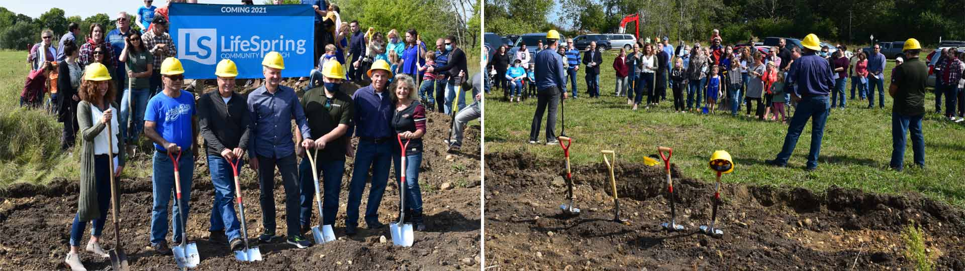 Two Photographs of people breaking ground and speaking to a crowd at the Place to Gather groundbraking ceremony